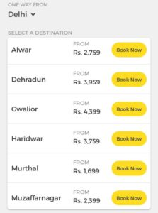 Available OneWayCab from Delhi